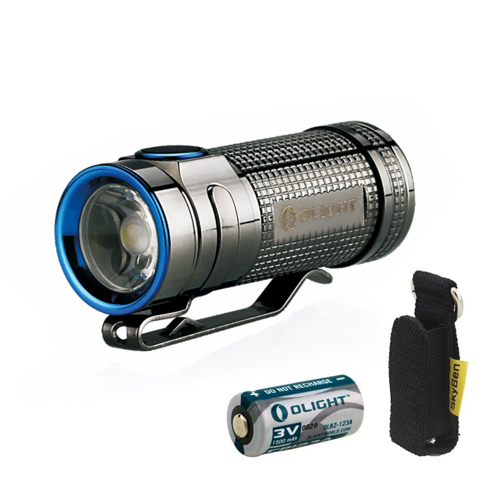 Olight S MINI Cree XM-L2 Cool White 550 lumens Flashlight Limited Version with CR123A Battery and SKYBEN Holster (S MINI (Stainless Steel))