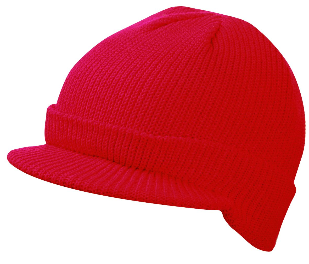 CLASSIC PEAKED RIBBED BEANIE KNITTED CAP HAT 8 COLOURS