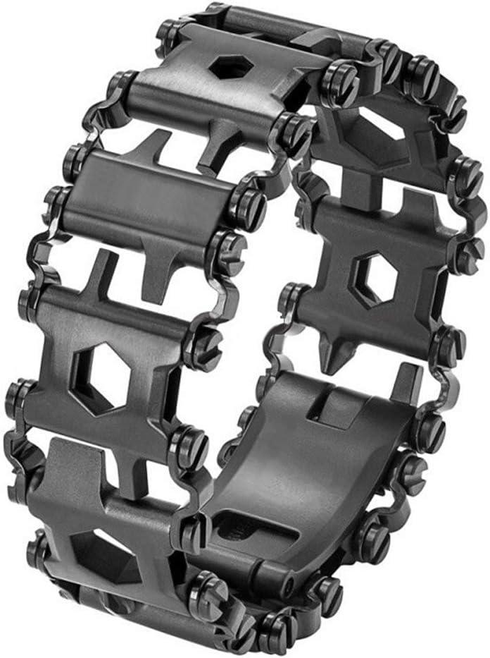 Shni 29-in-1 Multi-Tool Bracelet Men Outdoor Detachable Tread Chains Multifunction Bracelet Survival Bracelet Screwdriver Wrench Can Bottle Opener for Hiking Camping Travel