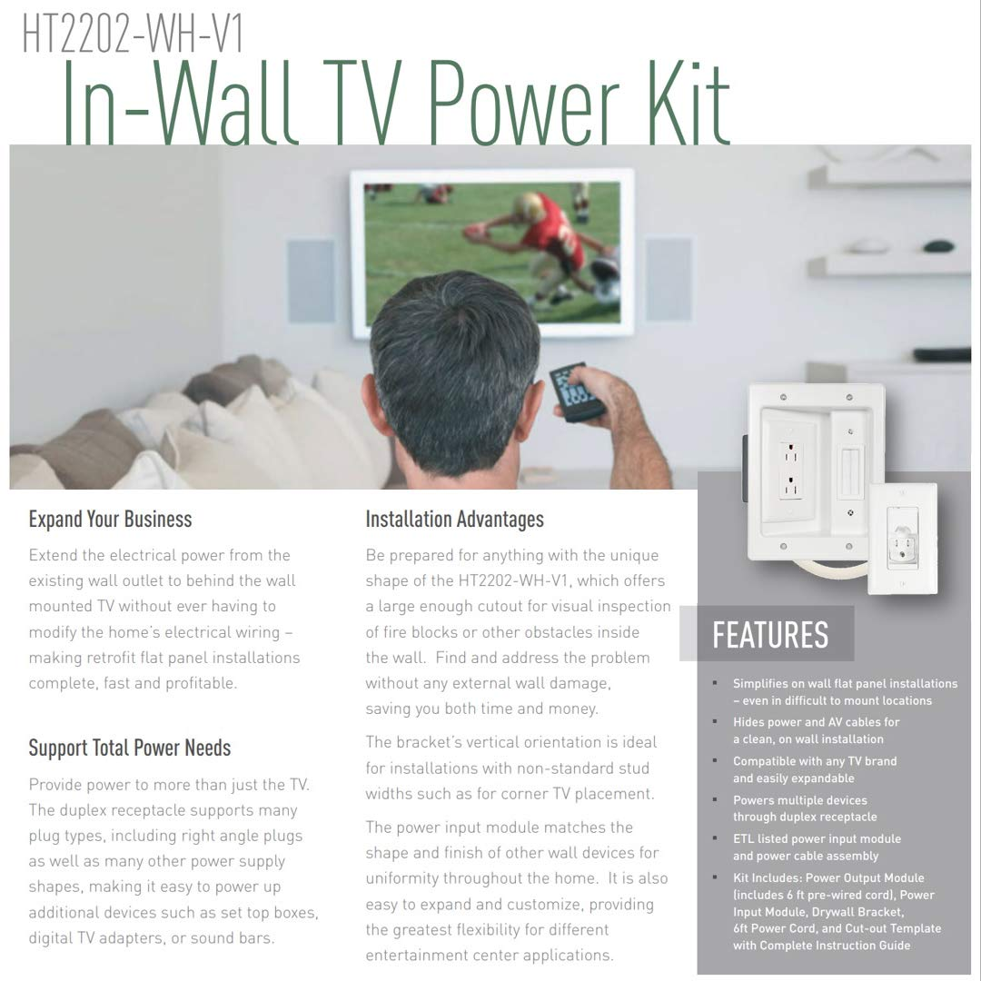 Legrand - On-Q 16314 HT2202WHV1 In-Wall TV Power & Cable Management Kit, Hides Power & AV Cables for Clean, Clutter-Free Installation by Legrand-On-Q