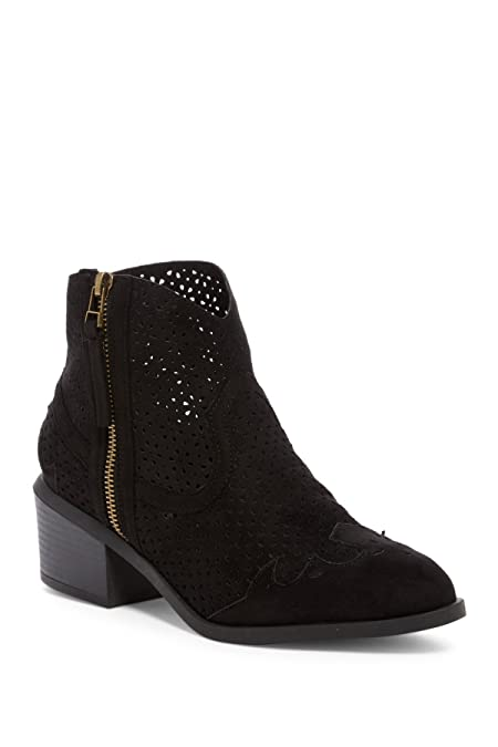 Women's Thrill Faux Suede Perforated Ankle Boot Heeled Shoe Bootie