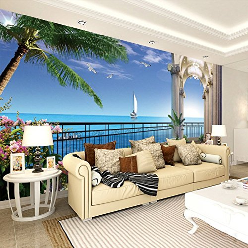 3D Stereo Landscape Wallpaper Tv In The Living Room Ocean View Bedroom Background Wallpaper Balcony Seamless Wall Cloth Paintings 400cmX400cm