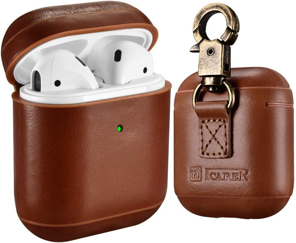 AirPods Leather Case, ICARER Genuine Leather AirPod case with Keychain and Led Light for Apple AirPods 2 Case & Airpods 1, Support Wireless Charging (Brown)