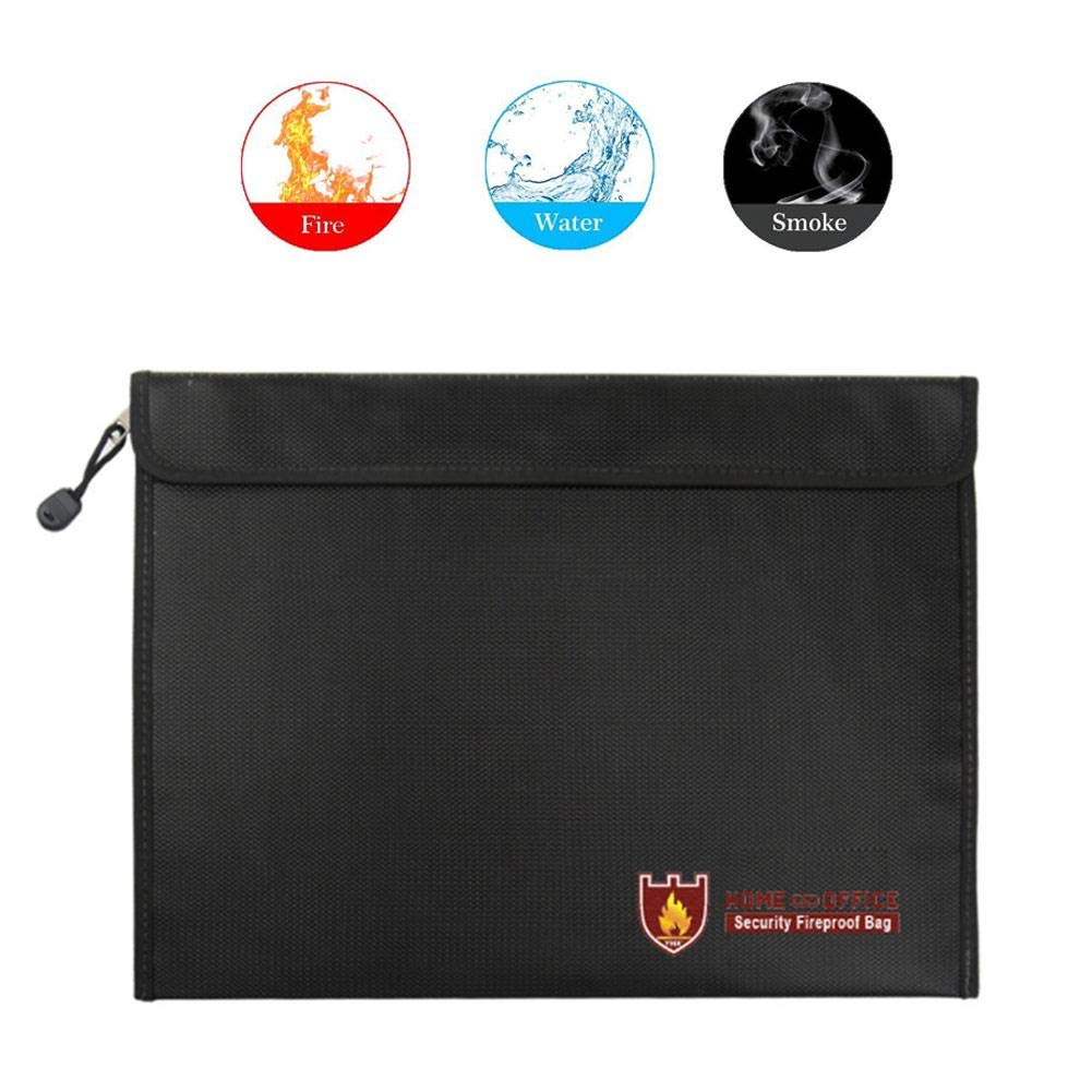 US-PopTrading Fireproof Document Bag, High Temperature Double Sided Fireproof Safe Storage Pouch File Bag,Water Dust Resistant Pouch Zipper Organizer Case for Money,Passport,Jewelry Black