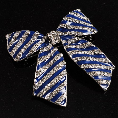 Avalaya Large Enamel Crystal Bow Brooch Blue
