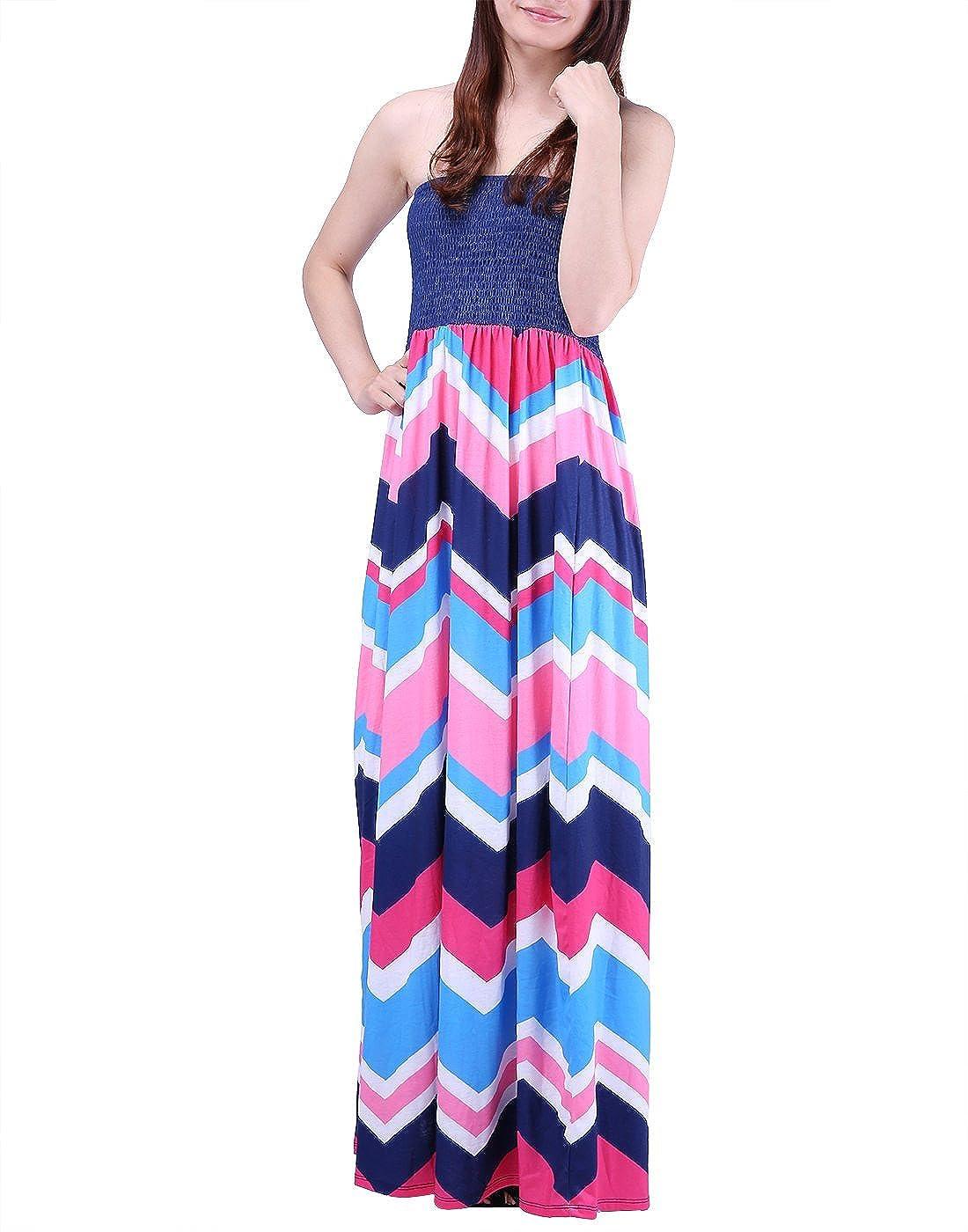 0fb4951f8fb Amazon.com  HDE Women s Strapless Maxi Dress Plus Size Tube Top Long Skirt  Sundress Cover Up (Pink Blue Chevron