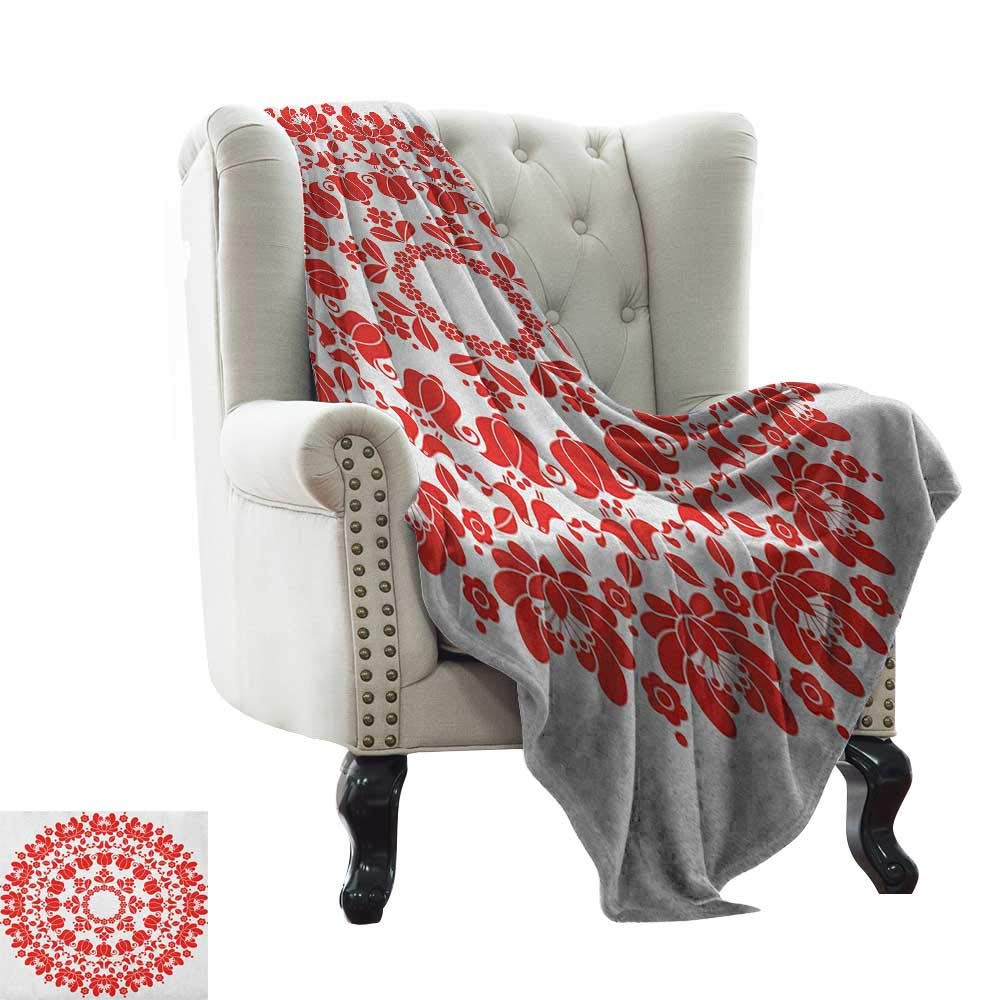color08 50\ BelleAckerman Weighted Blanket for Kids Red Mandala,Hungarian Round Folk Art Pattern Tulips Traditional Kalocsai Old Fashioned, Red and White Super Soft and Warm,Durable Throw Blanket 50 x60