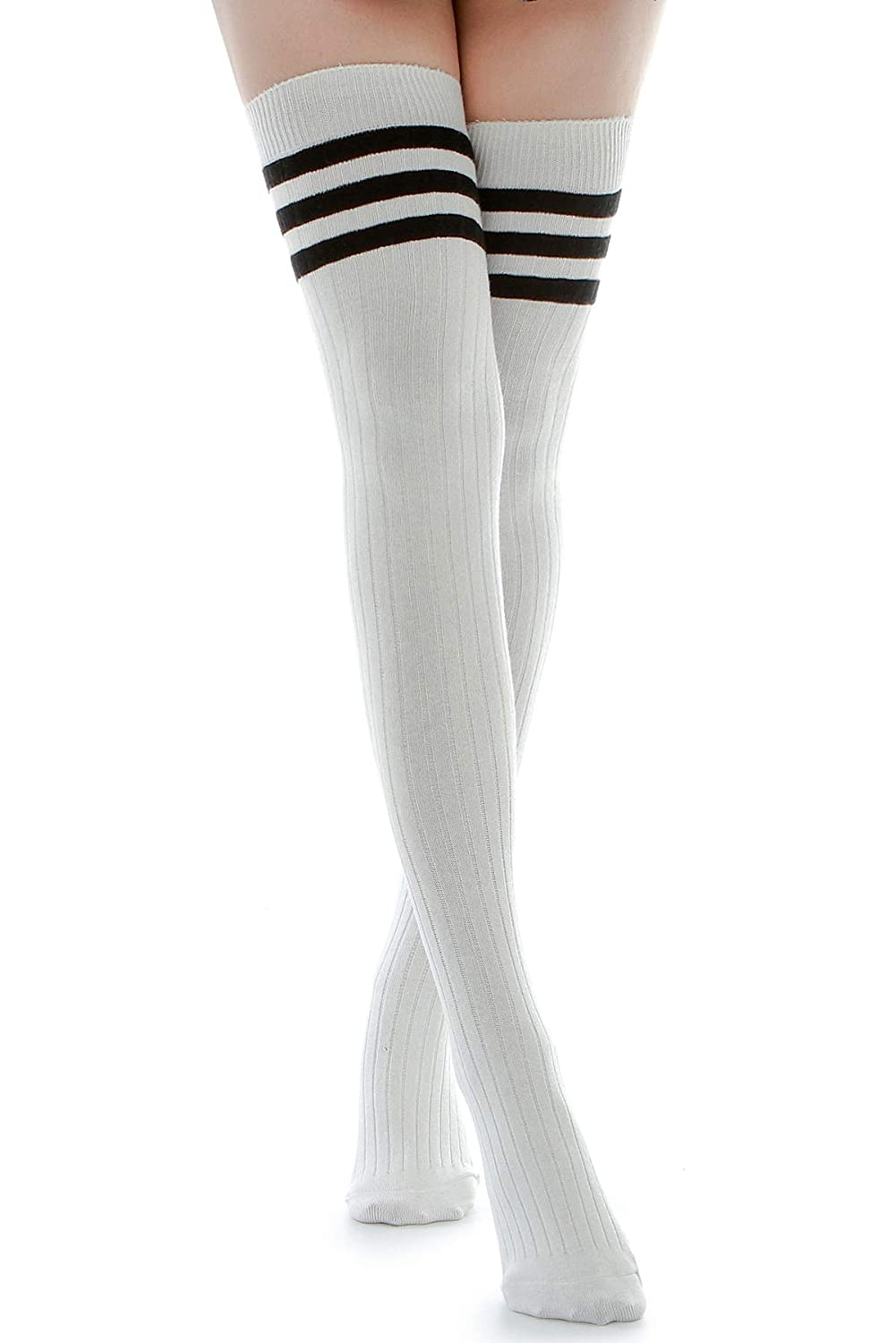 de6f206d0 Kayhoma Extra Long Cotton Mid Thigh High Socks Over the Knee High Boot  Stockings Cotton Leg