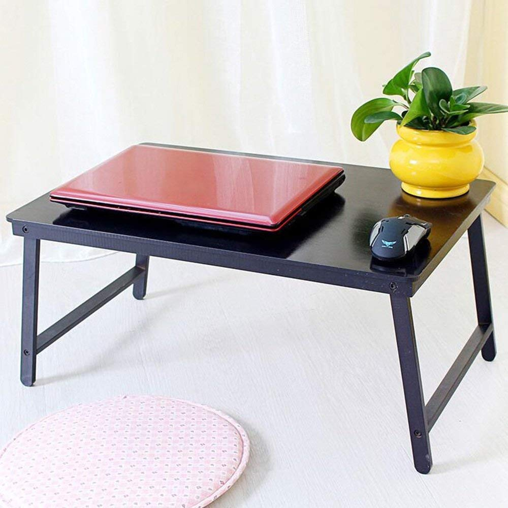 CWJ Table- Folding Table Bamboo Computer Desk Foldable Simple Small Desk in Bed Learning Table Save Space Dormitory Student Easy Lazy Bed Simple Home,4