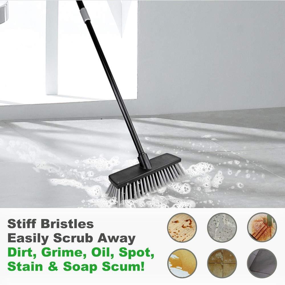 Push Broom Indoor Outdoor Floor Scrub Brush Stiff Bristles
