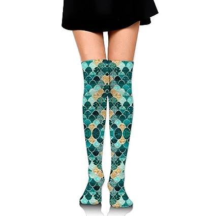 MMMN Purple Mermaid Womens CVC Tube Over Knee Thigh High Stockings  Netherstock Hose Boot Sock 45f207e604