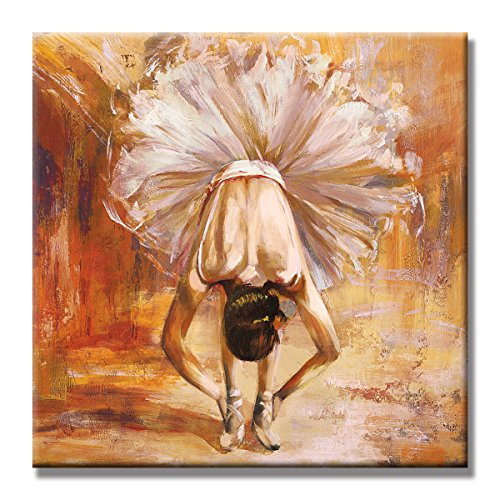 SEVEN WALL ARTS - 100 % Hand Painted Abstract Romantic Painting Ready to Hang for Home Decor (Girl In The Dance Ballet, 24 x 24 Inch) by SEVEN WALL ARTS