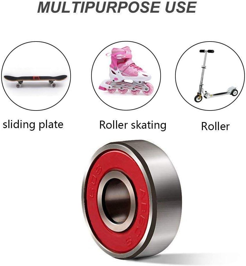 pattini di longboard /& pattini ad alta velocit/à del pattino del rullo del pattino 608zz in linea precisione Cuscinetti dacciaio della ruota del pattino di 10Pcs