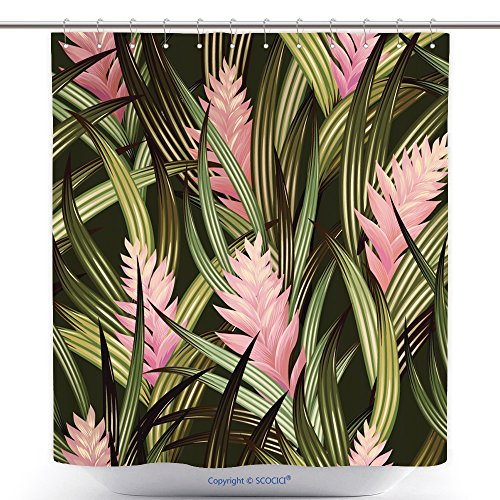 Waterproof Shower Curtains Tropical Vector Pattern With Amazing Detailed Flowers Illustrations For Fashion Interior Wall 430266574 Polyester Bathroom Shower Curtain Set With (Amazing Spider Man 2 Costume Pattern)