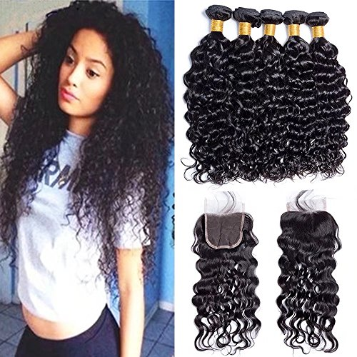 Maxine 9A Malaysian Virgin Hair Bundles with Closure Water Wave 3 Bundles With Free Part Closure Wet And Wavy Virgin Human Hair Weave Natural Black(14 14 16with 12)
