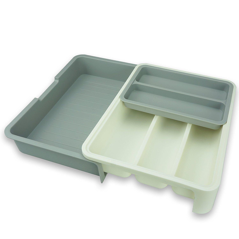 Z-Life Schubladeneinsatz/Besteckkasten, verstellbar, Kunststoff, Fächer und Einsatz für Küchenhelfer, Breite: 24bis 40cm, Weiß zhongxing