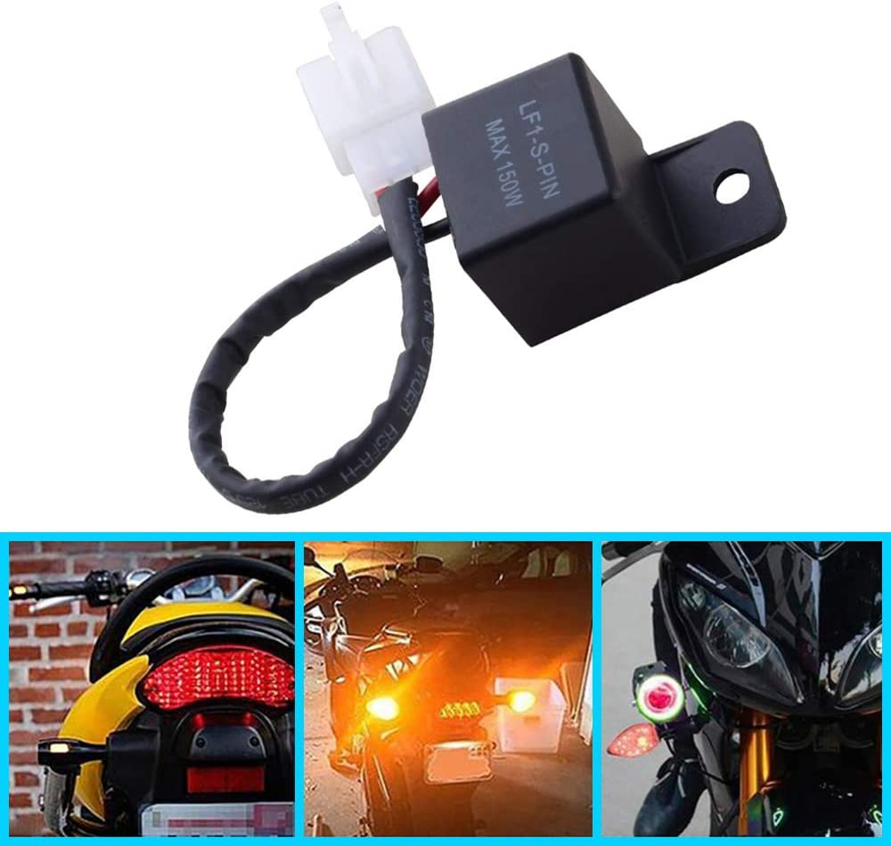 ESUPPORT 12V Waterproof Electronic Turn Signal LED Light Flasher Relay Fix Motorcycle Hyper Blink Flash Indicator Scooter