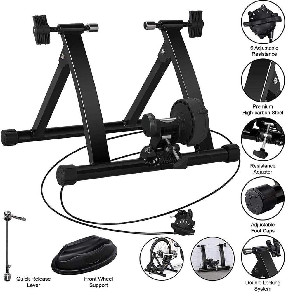 TANCEQI Turbo Trainer Quiet Magnético Interior Ciclo Entrenador Soporte con Liso Real Carretera Feel para Montaña & Bicicleta de Carretera Tipos