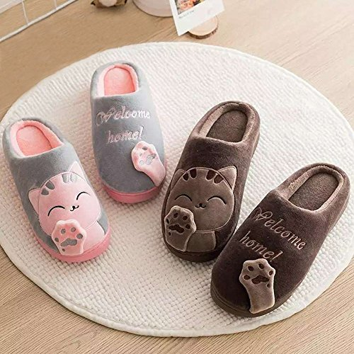 Wärmehausschuhe für Kaffee Winter Minetom Katze Rutschfeste Baumwolle mit Slippers Indoor Hause Warme Damen Home Cartoon Hausschuhe Plüsch Damen Herren A HZqwZ
