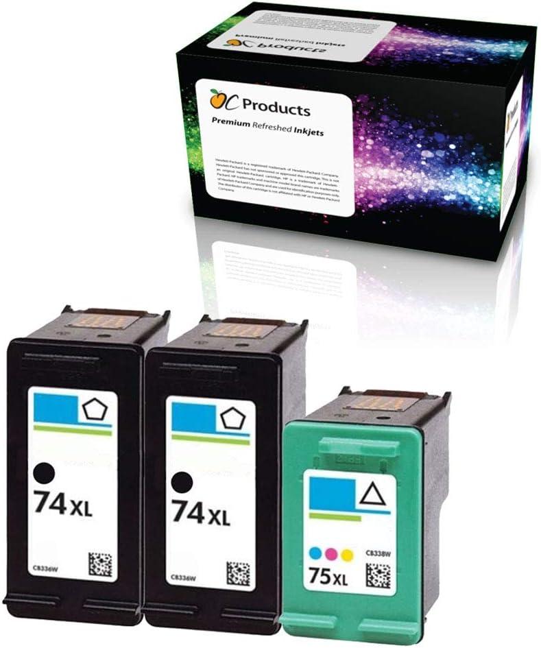 OCProducts Refilled HP 74XL 75XL Ink Cartridge Replacement 3 Pack for HP Officejet J6480 Photosmart C4400 C4380 C4500 Deskjet D4260 (2 Black 1 Color)