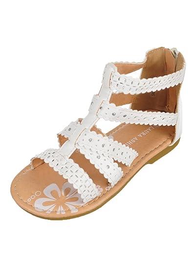 06f60efa12 Amazon.com | Laura Ashley Girls' Sandals - White, 5 Toddler | Sandals