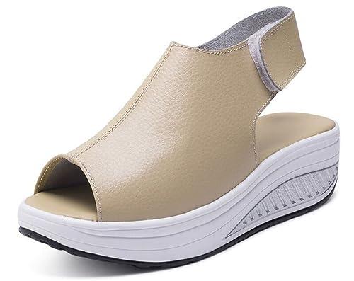 Cuña Confort Toe Plataforma Sandalias Cuero Peep Tacón Hishoes Mujer OXZuTlPwki