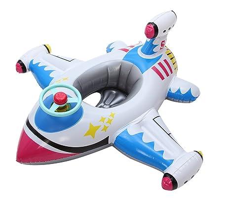 V-SOL Flotador para Bebés con Asiento de Juguete Piscina Niños Modelo Avión Multicolor-