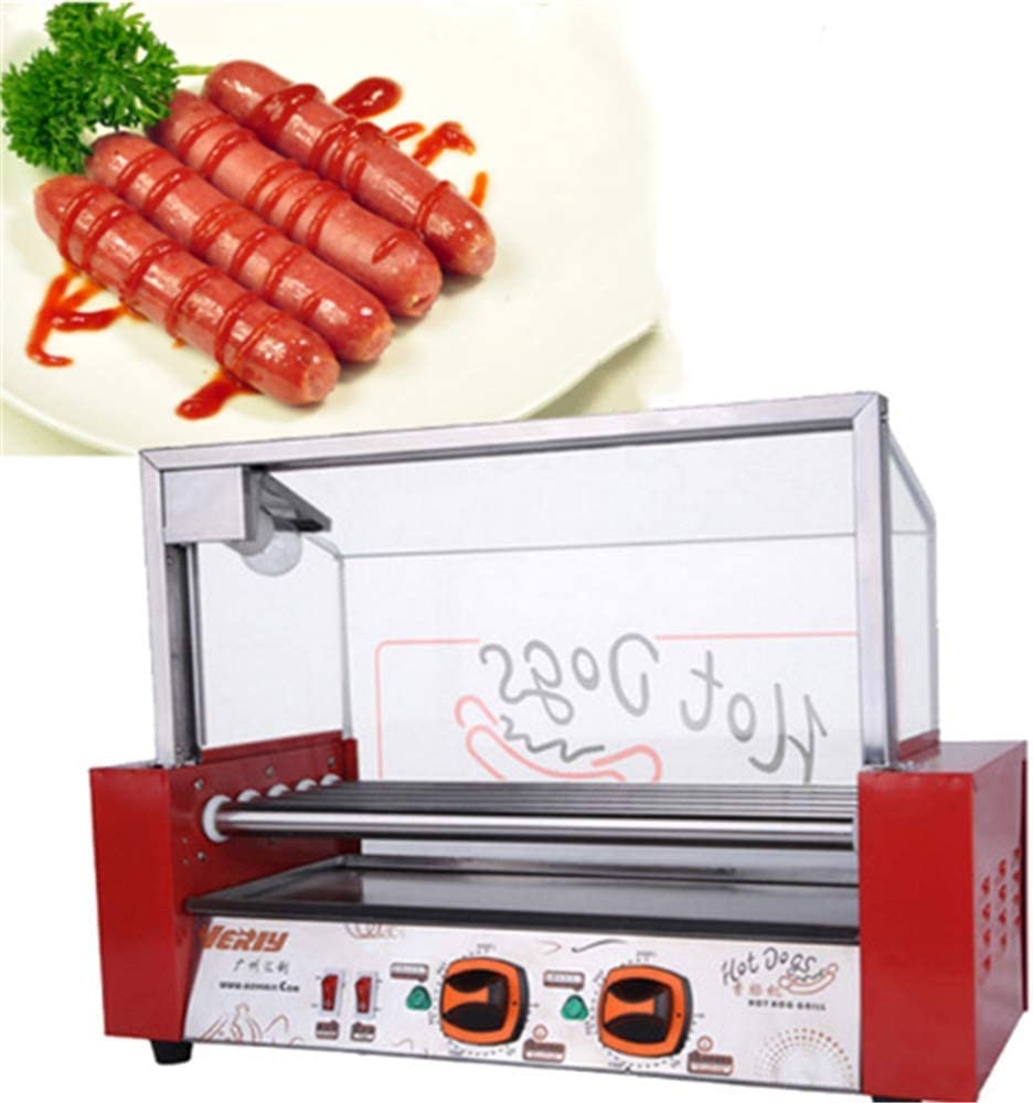 ANGELA Commercial Electric Hot Dog Grill Cooker 7 Roller Machine, Sausage Grilling Stainless Steel Non Stick Hotdogs Appliances, for Convenience Stores