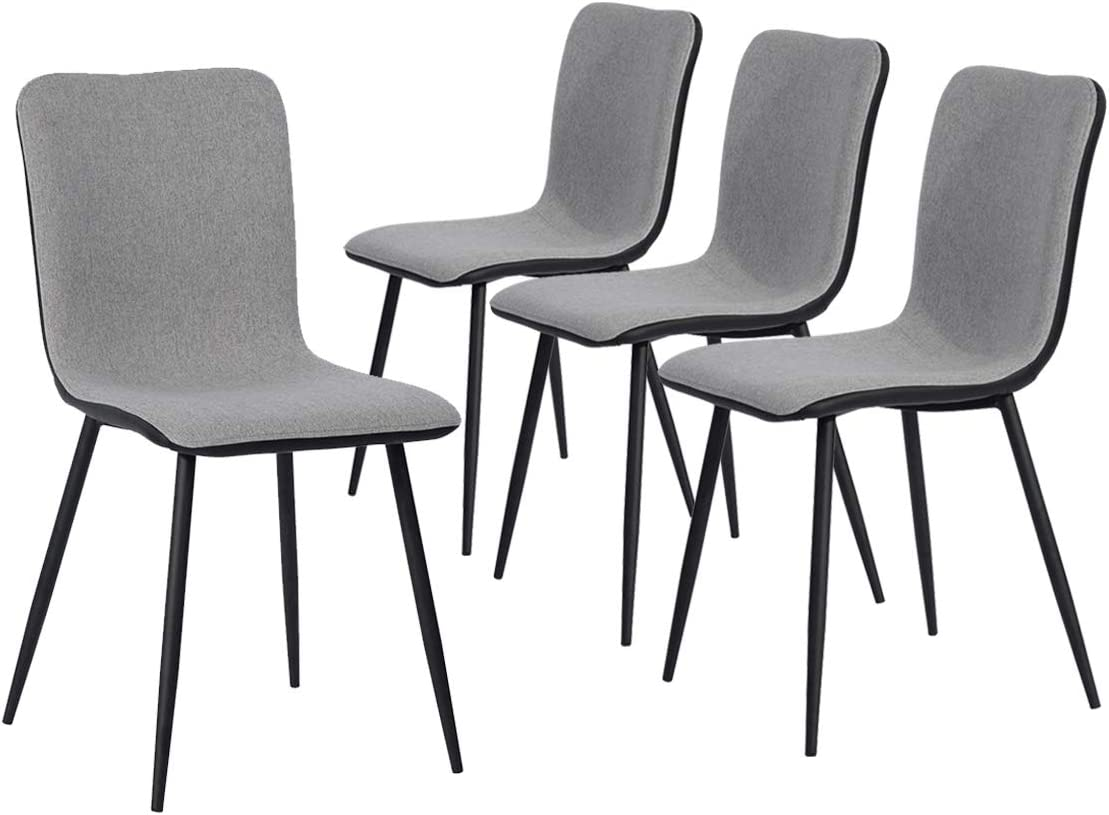 Coavas Dining Chairs Set of 4, Kitchen Chairs with with Fabric Cushion Seat Back, Black Washable PU Back and Metal Legs, Modern Mid Century Living Room Side Chairs
