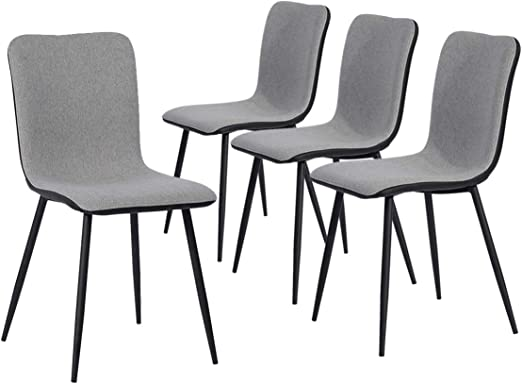 Mcombo Set of 4 Kitchen Dining Chairs Mid-Century DSW Assemble 4 in 5  Minutes with Washable Pu Cushion Seat Sturdy Metal Legs for Dining Living  Room ...