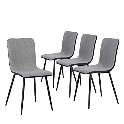 Prime Set Of 4 Kitchen Dining Chairs Assemble All 4 In 5 Minutes Grey Ventilate Fabric Cushion Black Washable Pu Back And Metal Legs Living Room Ibusinesslaw Wood Chair Design Ideas Ibusinesslaworg