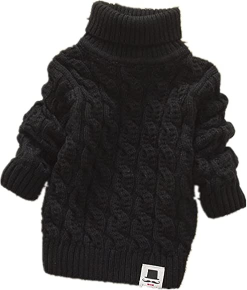 7e117d22c Boys Girls Turtleneck Sweaters Soft Warm Children's Sweater (1-2 years,  black)