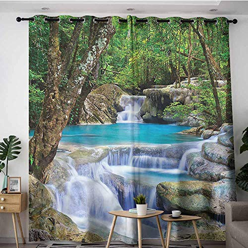 XXANS Extra Wide Patio Door Curtain,Waterfall,Rocks in Waterfall Lake,Grommet Curtains for Bedroom,W84x84L