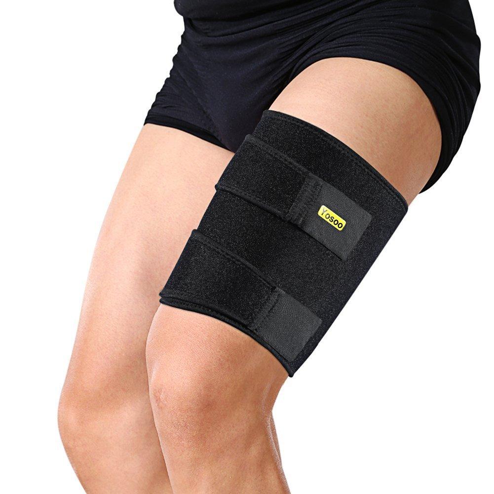 Protección de neopreno para muslo (apta para pierna izquierda o derecha, diseño unisex), color negro Yosoo
