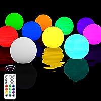 Homly 10 Sets Floating Led Pool Lights Remote Control RF, Light Up Pool Balls,16 Color Changing Glow Balls Battery…