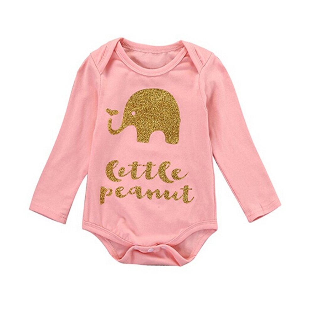 Happyear Newborn Baby Boys Girls Elephant Bodysuits Long Sleeve Cotton Rompers