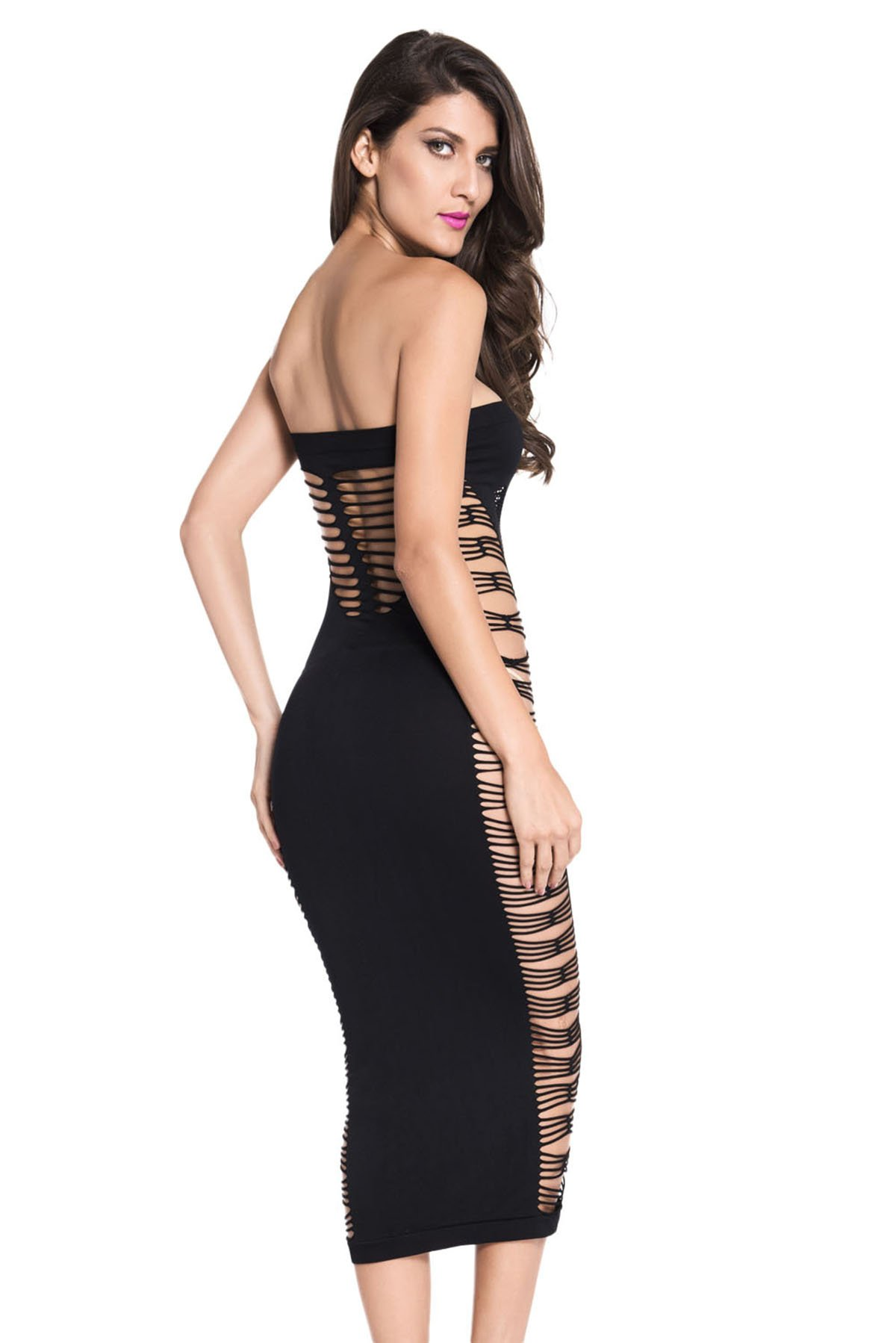 Topfly Big Spender Strapless Long Tube Dress Hollow Out Bandage Night Dress Black US XXS-L/Asian Free Size by Topfly® (Image #2)