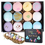Esther Beauty Bath Bombs Gift Set Natural Essential Oils Soothing&Moist Skin/Relieve Dry Skin 12×2.5oz Perfect for Bubble & Spa Bath,Best Gift Ideas for Kid, Girlfriends, Women, Mom (12 Ball)