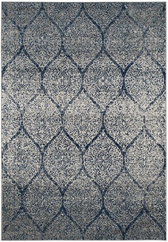 Safavieh Madison Collection MAD604G Navy and Silver Distressed Ogee Area Rug 3 x 5
