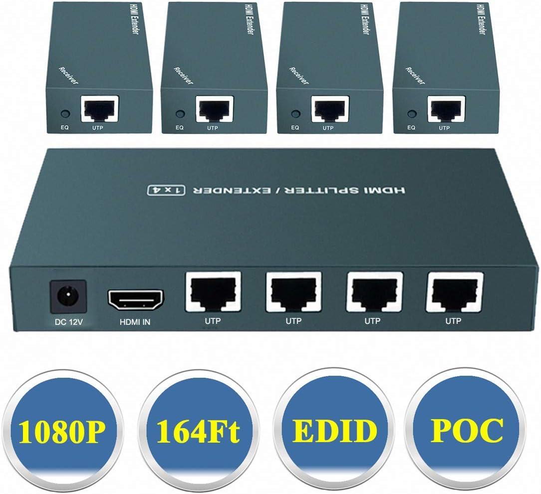Support UHD 1080P@60Hz /& 3D Visual Over CAT5e//CAT6//CAT7 AAO 1x4 HDMI Extender Splitter 50m 4 Channel Transmit 165ft
