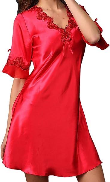 Aivtalk Sexy Femme Satin Nuisette Robe De Nuit à Manches Courte Col V Elégant Nuisette Vêtement Chemise De Nuit Peignoir Lingerie Pyjama Amazon Fr Vêtements Et Accessoires