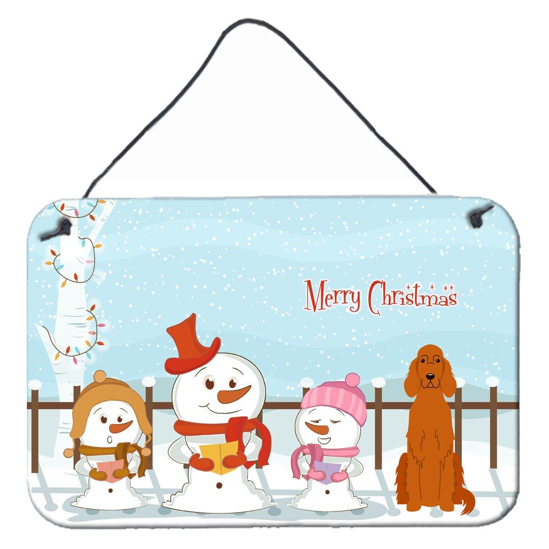 Carolines Treasures Merry Christmas Carolers Irish Setter Wall or Door Hanging Prints BB2395DS812 8 x 12,