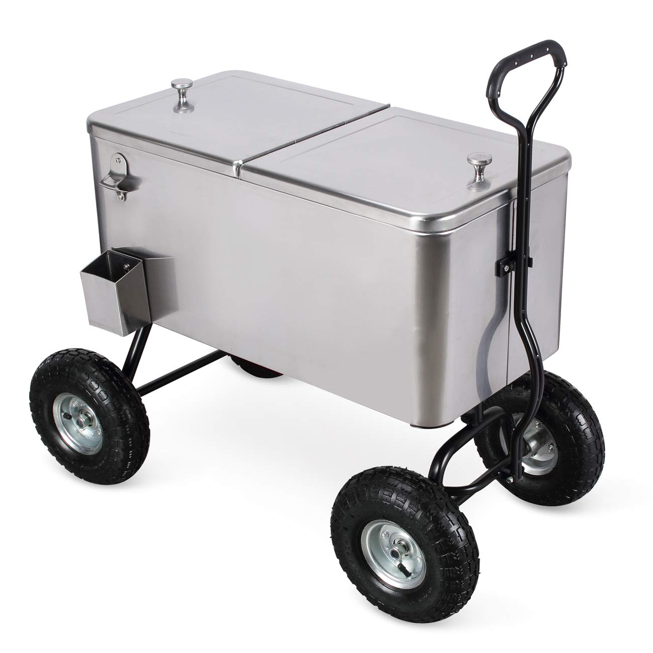 Belleze 80 Qt Portable Rolling 10' All Terrain Wheels Outdoor Backyard Party Beach Drink Cooler Wagon, Stainless Steel