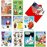 10 'Morning After' Hilarious Merry Christmas Note Cards 4.63 x 6.75 inch - Funny Holiday and Xmas Notecards w/ Santa, Polar Bears, Elves - Boxed and Assorted Cartoon Stationery w/ Envelopes A1251