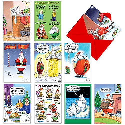 A1251 MORNING AFTER: Assorted Box Of 10 Hilarious Christmas Cards, W/12 Envelopes (10 Designs, 1 Card Per Design)
