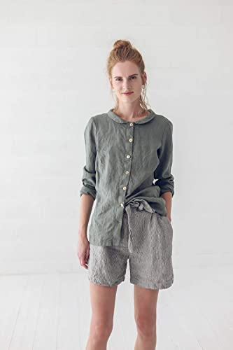 shirt Blouse Flax Shirt 100 /% Flax Hand Made Clothing for Her Size Small Linen T
