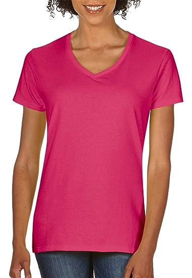 65ed0ffdb Gildan Heavy Cotton Ladies' V-Neck T-Shirt, Heliconia, Medium at Amazon  Women's Clothing store: