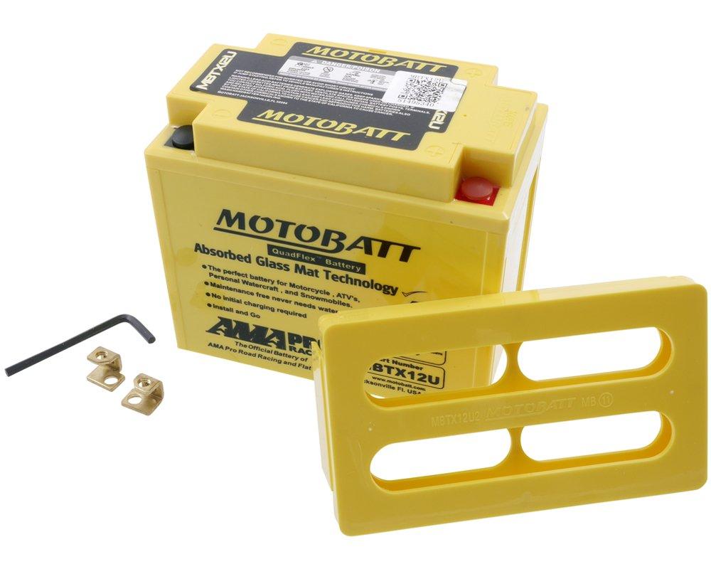 Motobatt MBTX12U - Batteria a 4 poli, 12 V, 14 Ah, 151 x 87 x 130 mm 12V PW
