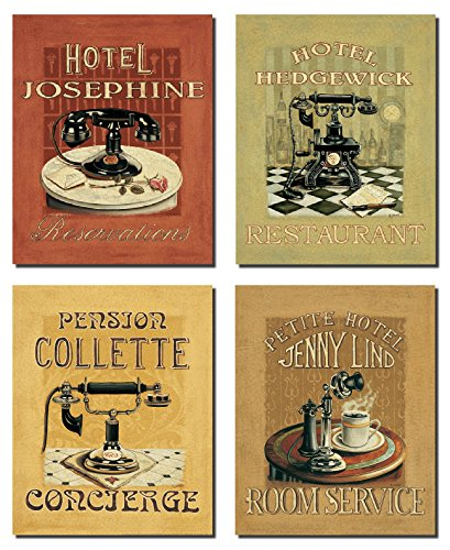 Classic Old-Fashioned Concierge, Room Service, Restaurant and Reservation Hotel Paper Poster Signs; Four 8x10in Poster Prints