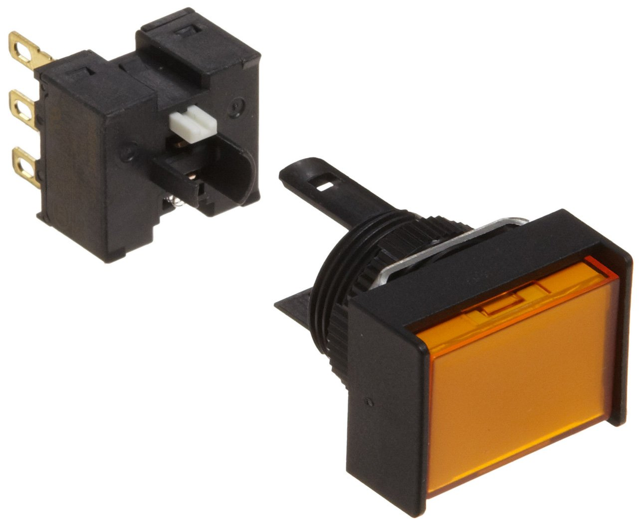 Omron A165-JYM-1 Two Way Guard Type Pushbutton and Switch, Solder Terminal, IP65 Oil Resistant, 16mm Mounting Aperture, Non-Lighted, Momentary Operation, Rectangular, Yellow, Single Pole Double Throw